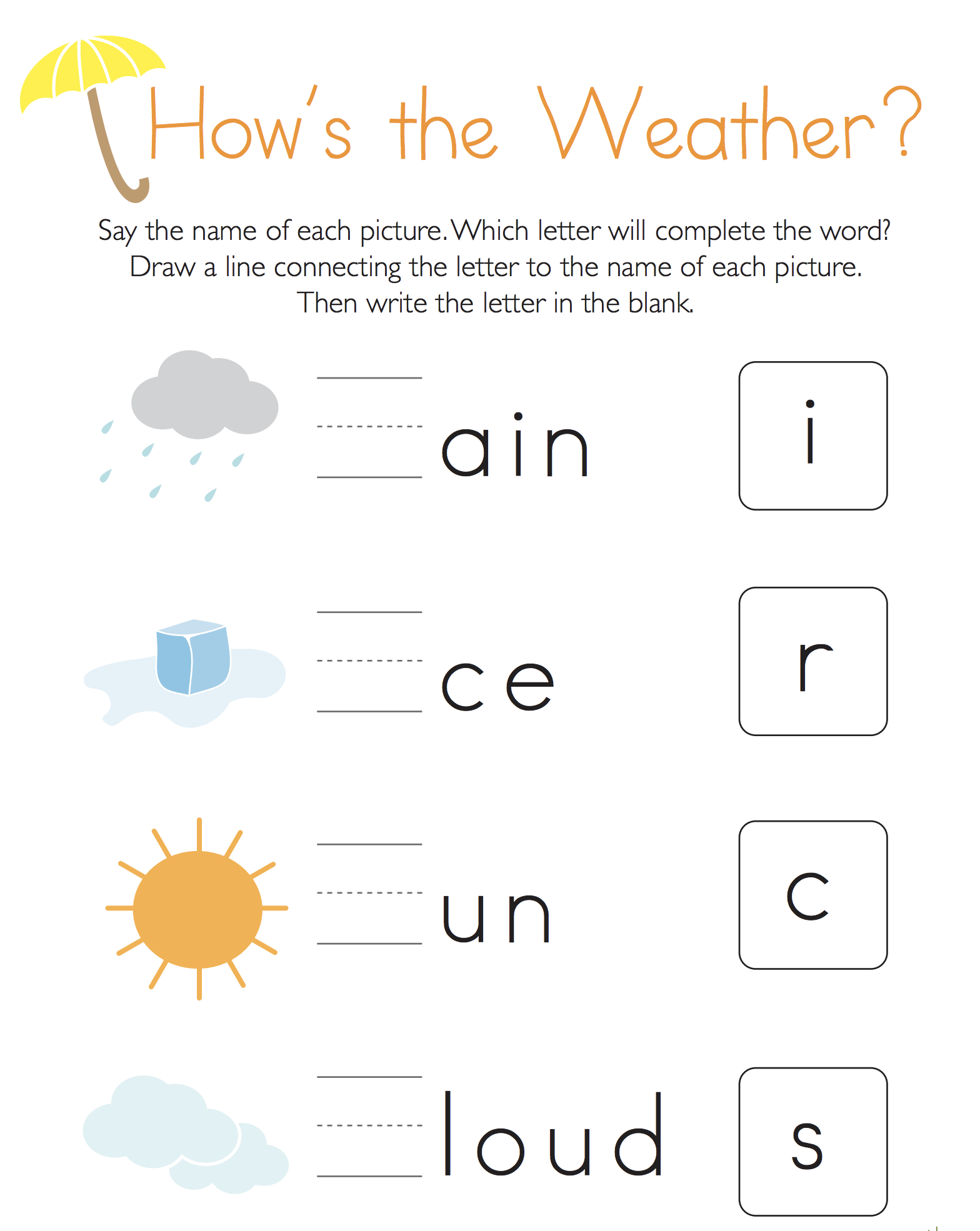 Write the Missing Letter: How's the Weather?