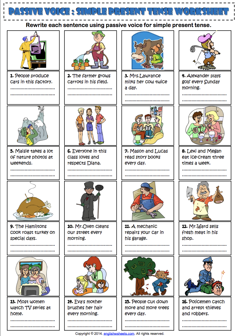 Passive Voice Simple Present Tense ESL Exercise Worksheet