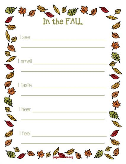 """""""In The Fall..."""" Five Senses Printable Writing Activity"""