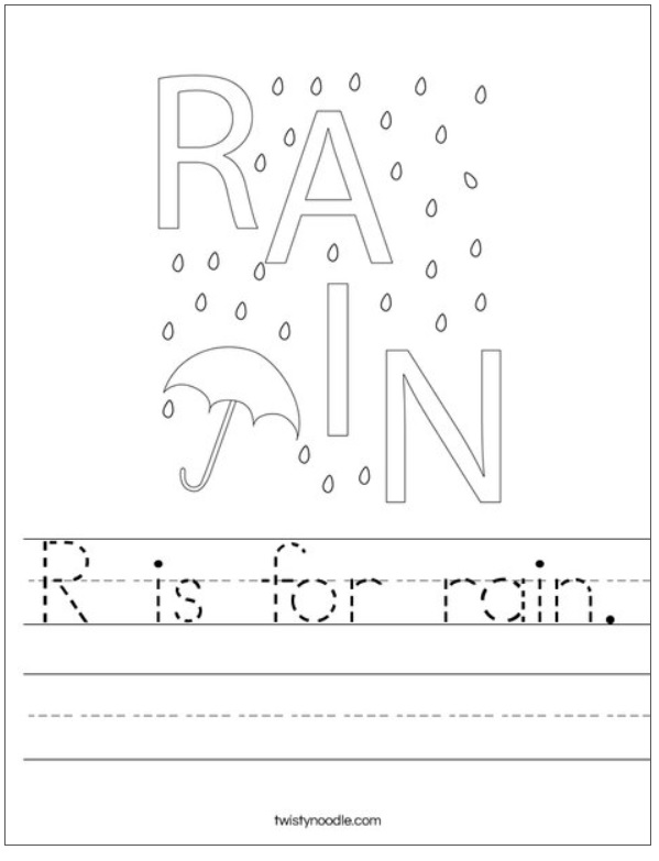 R is for rain Worksheet